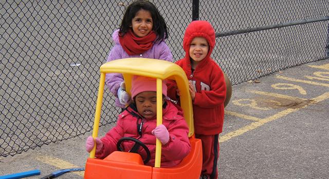 Children on a preschool playground
