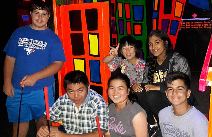 Group at Indoor Mini Golf